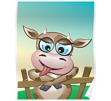 Critterz-Brown Cow - cheeky agnes Poster