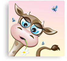 Critterz-Brown Cow - daisy Canvas Print