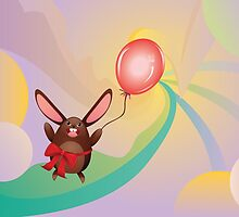 Chocolate Bunny with Balloon 3 by AnnArtshock