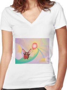 Chocolate Bunny with Balloon 3 Women's Fitted V-Neck T-Shirt