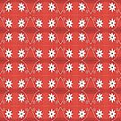Red White Flower Pattern by donnagrayson