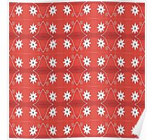 Red White Flower Pattern Poster