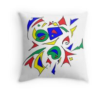 Primary Colour (plus green) Geometric Throw Pillow