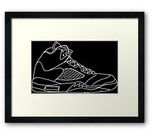 Air Jordan 5 White Framed Print
