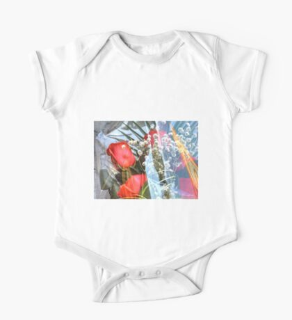 Bouquet with red roses One Piece - Short Sleeve
