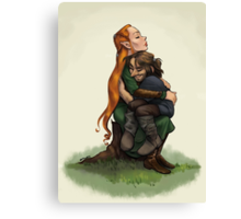 Kiliel: Tauriel and Kili from the Hobbit on a Tree Stump Canvas Print