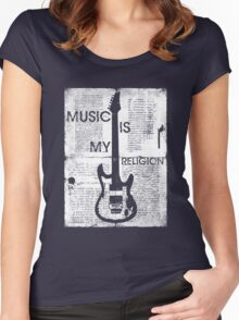 Music Is My Religion Women's Fitted Scoop T-Shirt