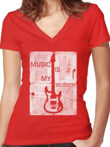 Music Is My Religion Women's Fitted V-Neck T-Shirt