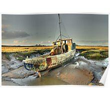 Boat at Sunderland Point, Lancashire Poster