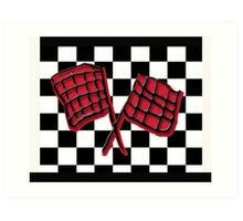 Black and red race flag Art Print