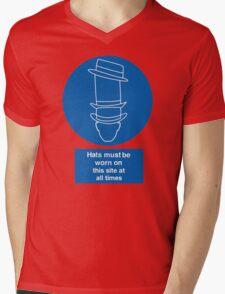 Caution Hats Mens V-Neck T-Shirt