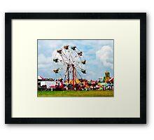 Ferris Wheel Against Blue Sky Framed Print