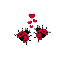 Ladybugs in love hearts Photographic Print