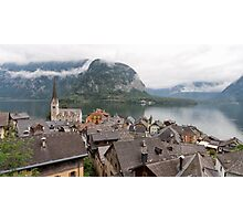 Evangelical Church of Christ and rooftops of Hallstatt Photographic Print