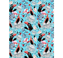 floral pattern with birds Photographic Print
