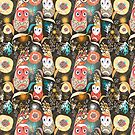 floral pattern with owls by Tanor