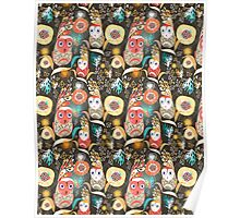 floral pattern with owls Poster