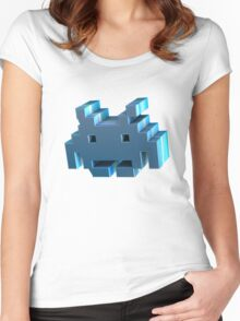 3d Space Invader. Women's Fitted Scoop T-Shirt