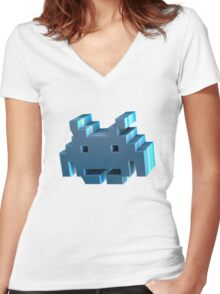 3d Space Invader. Women's Fitted V-Neck T-Shirt