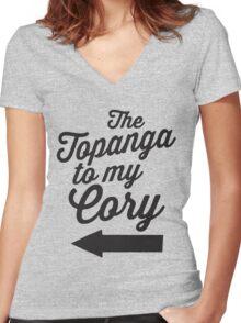 The Topanga To My Cory / Boy Meets World / Girl Meets World / The Cory To My Topanga Couples Matching Shirts Women's Fitted V-Neck T-Shirt
