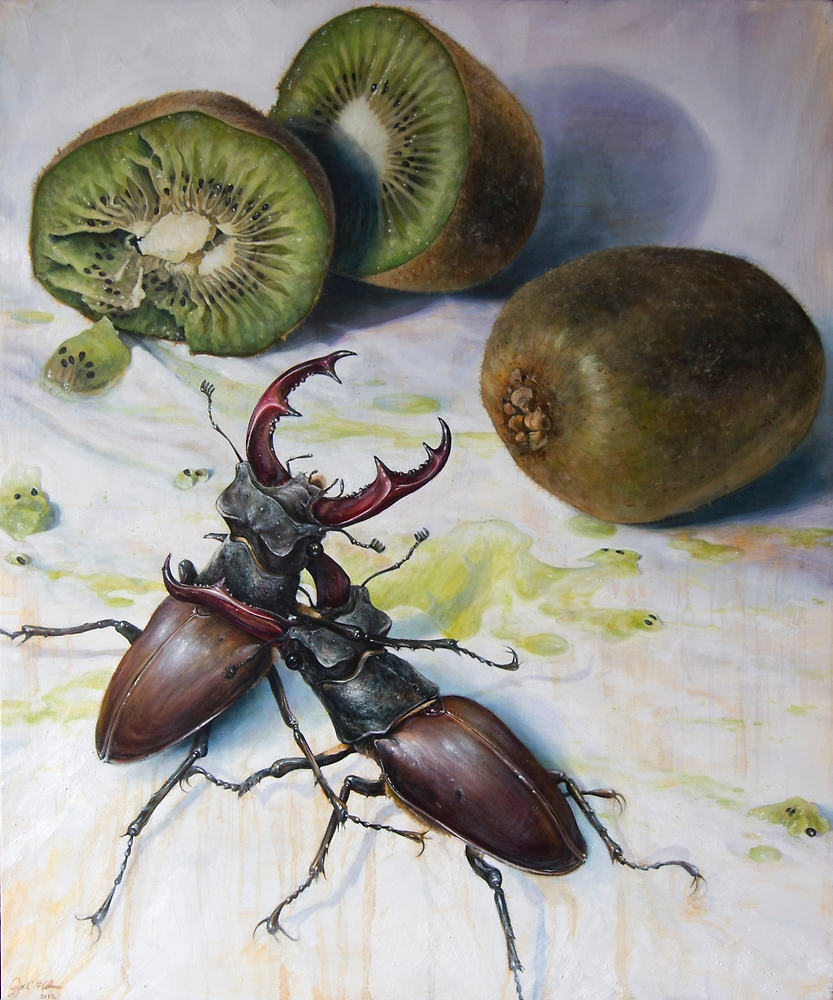 """ Kiwis and Stag Beetles ( Struggle for Constancy)"" by Joe Helms"
