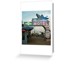 Blue Swallow Motel Dusk Tucumcari Greeting Card