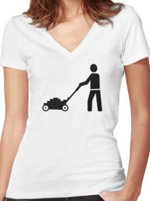 Lawn mower Women's Fitted V-Neck T-Shirt