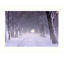 Snowy Winter Alley in Park Art Print