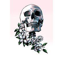 Skull & Magnolia Flowers Photographic Print