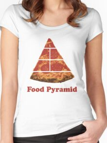 Food Pyramid Pizza Women's Fitted Scoop T-Shirt