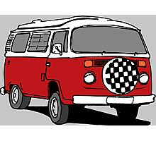 Red Vee Dub Bus Photographic Print