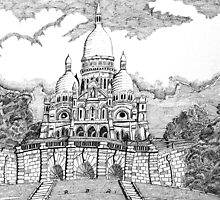 218 - SACRE COEUR, PARIS - DAVE EDWARDS - INK - 2008 by BLYTHART
