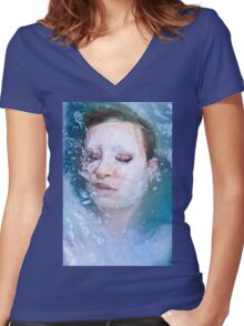 Blue of Noon - erotic nude cool water sexy nature crazy power proud woman awesome Women's Fitted V-Neck T-Shirt