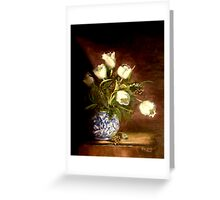 White Tulips In A Chinese Vase Greeting Card