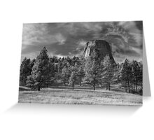 Indian Devil's Tower BW Greeting Card