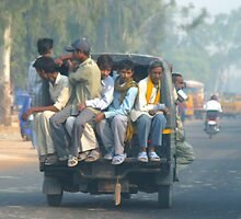 Car Pool - India by Dave Mortell
