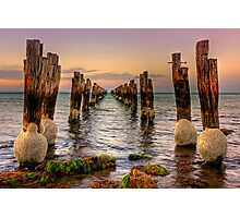 Old jetty at low tide - Clifton Springs Photographic Print