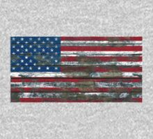 Flag of United States on Rough Wood Boards Effect Kids Tee