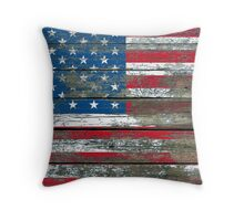 Flag of United States on Rough Wood Boards Effect Throw Pillow