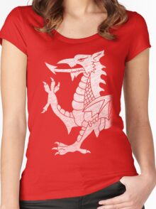 Welsh Dragon White Women's Fitted Scoop T-Shirt