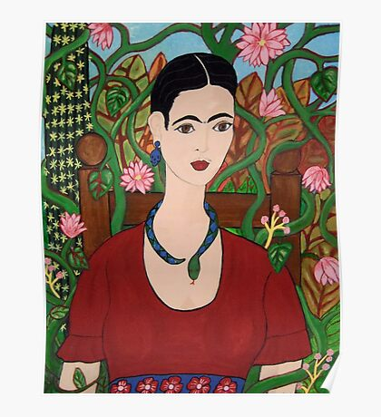 Frida with Vines Poster