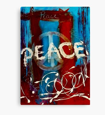 Peace sign abstract in red & blue  Canvas Print