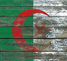 Flag of Algeria on Rough Wood Boards Effect by Jeff Bartels