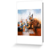 Church in Orange and Blue Greeting Card