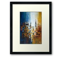 Building Composition in Blue and Ochre Framed Print