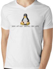 Linux - Get Install Sex Life Mens V-Neck T-Shirt