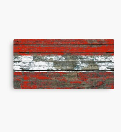 Flag of Austria on Rough Wood Boards Effect Canvas Print