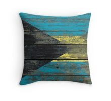 Flag of Bahamas on Rough Wood Boards Effect Throw Pillow