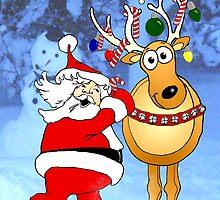 Santa and Reindeer. by graphicdoodles