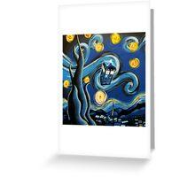 Blue Tardis Starry Night Greeting Card